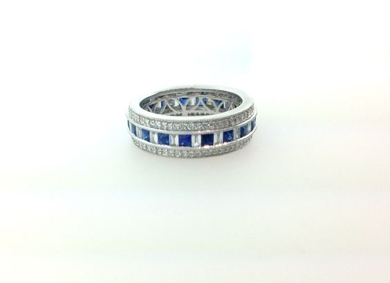 14K White Gold Diamond and Sapphire Eternity Band