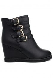 Black Buckle Wedge Boots