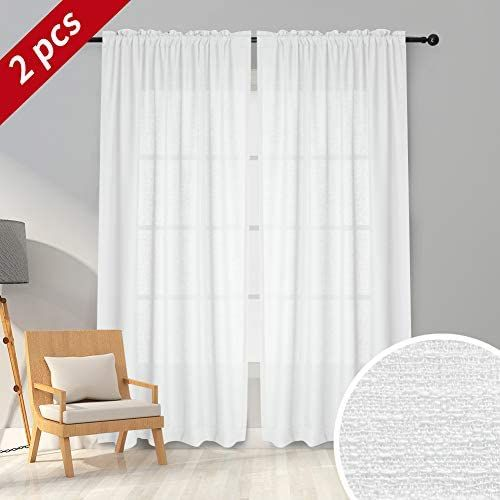 Melodieux White Semi Sheer Curtains 63 Inches Long For Living Room Linen Look Bedroom Rod Pocket Voile Drapes 52 By 63 In 2020 Sheer Curtains Curtains White Curtains