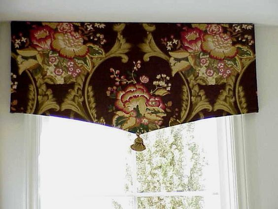 drapery valance styles   One flat panel of fabric in a large pattern... line it shaped to a ...