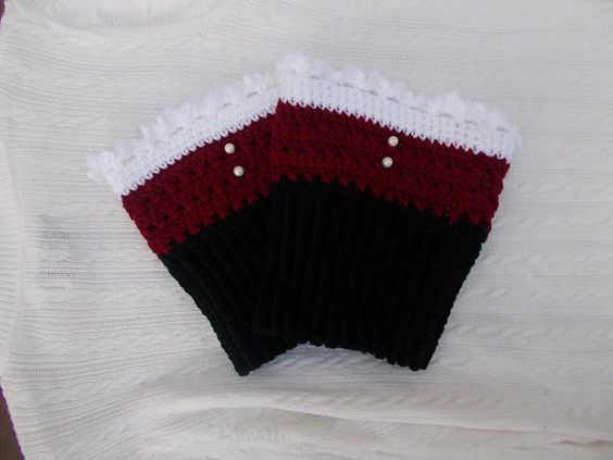 Sports Team Crocheted Boot Cuffs 1 Pair by needleme