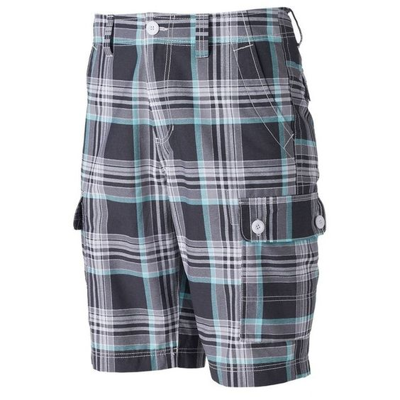 Big & Tall Urban Pipeline® Plaid Cargo Shorts ($19) ❤ liked on Polyvore featuring men's fashion, men's clothing, men's shorts, grey, mens plaid shorts, big & tall mens clothing, mens leopard print shorts, mens big and tall cargo shorts and mens grey shorts