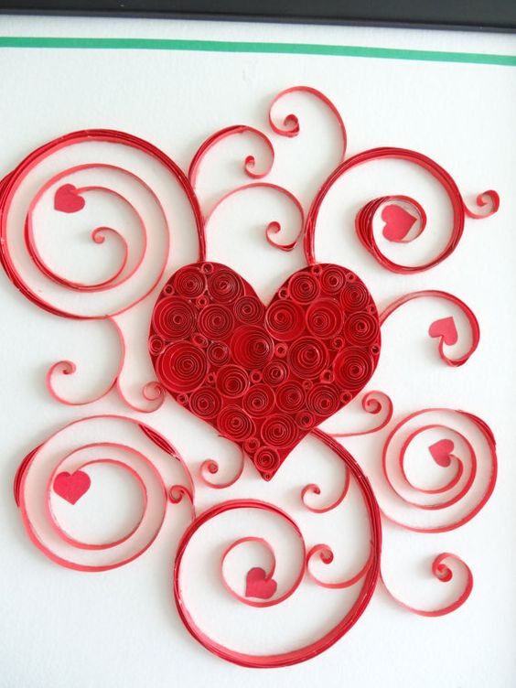 Heart string art and paper on pinterest for Quilling heart designs