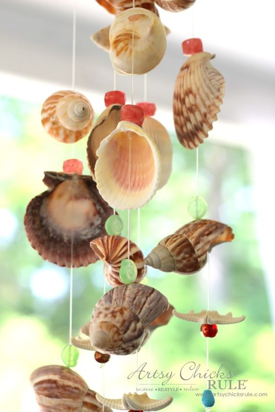 Diy seashell bead wind chime seashell wind chimes for Shell wind chimes diy
