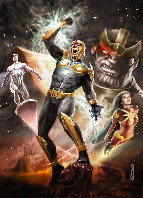 Nova, Silver Surfer, Thanos & Quasar by Max Bertolini ...