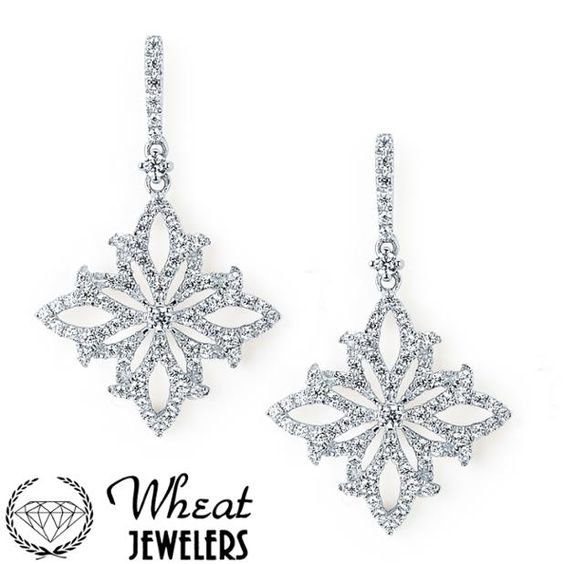 Diamond Encrusted Snowflake Dangle Earrings