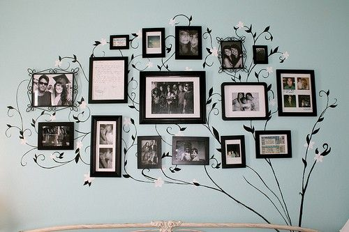 Framed family pictures connected by a tree