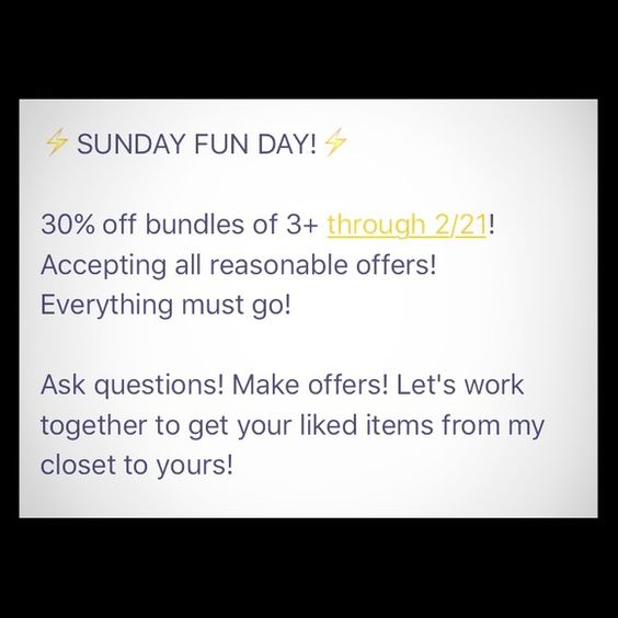 SUNDAY FUN DAY SALE! Price reductions and 30% off bundles of 3+ through 2/21!!! Other