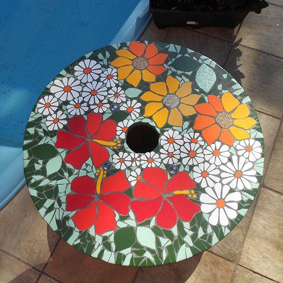 atelier ba de ideias mosaicos mesas carretel com