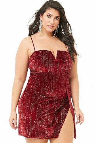 Plus Size Velvet Glitter Embellished Dress   Plus size ...