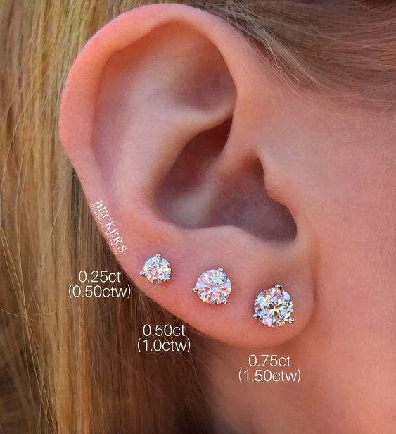 1 2 Carat Tw Diamond Cluster Stud Earrings Diamond Earrings Studs Round Diamond Earrings Studs Mens Diamond Stud Earrings