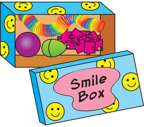 "Prepare a ""smile box"" to have on hand when an upset child needs time to settle down. Place in a decorated box items such as a stress ball, a container of silly putty, and small puzzles. When a child is having trouble calming down, invite her to choose a ""smile"" item from the box. Then lead her to a quiet corner of the room where she can play with the item until she calms down."