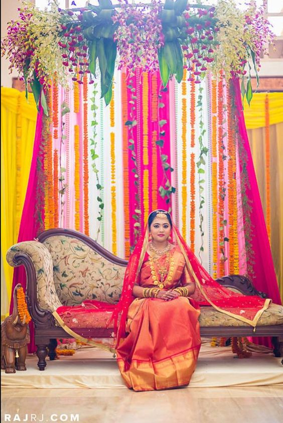 Indian Wedding Decor Ideas South Indian Reception Decoration Traditional Southern Indian Bride