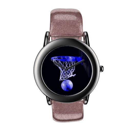 Basketball Glitter with Pink Glitter Strap Watches