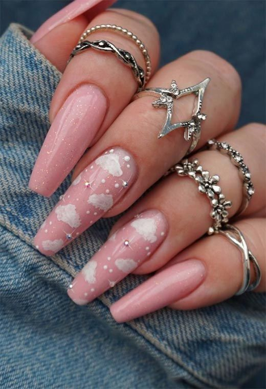 Pink White Clouds Nails In 2020 Coffin Shape Nails Ballerina Nails Pretty Acrylic Nails