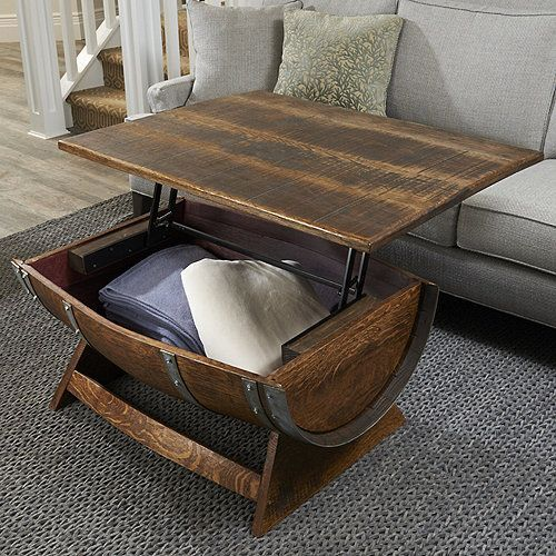 Discover The Best Lift Top Coffee Tables For Your Living Room Below In Our Pin Board Of The Be Wine Barrel Coffee Table Barrel Coffee Table Barrel Furniture