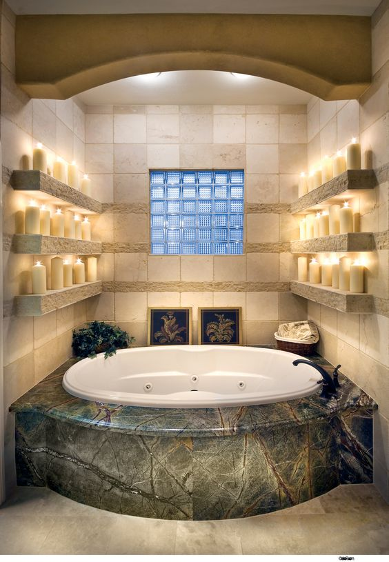Candles master bath and shelves on pinterest for Romantic master bathroom