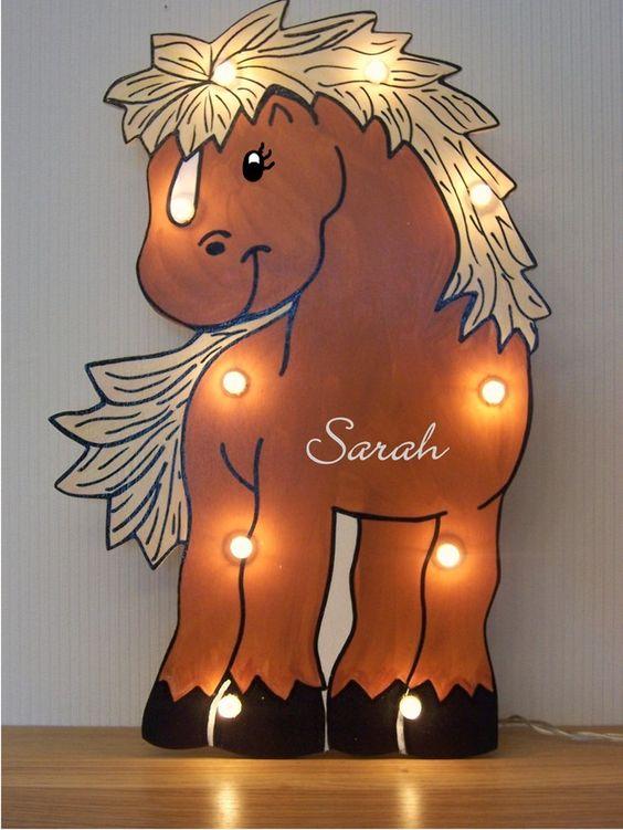Niedliches Schlummerlicht als Pferdchen, Kinderlampe zum Einschlafen / cute horse lamp made by lampenfieber17 via DaWanda.com