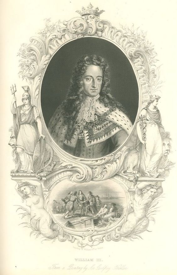 William III of England (The Hague, 14 November 1650 – Kensington Palace, 8 March 1702; also known as William II of Scotland and William III of Orange) was a Dutch aristocrat and a Protestant Prince of Orange from his birth, Stadtholder of the main provinces of the Dutch Republic from 28 June 1672, King of England and King of Ireland from 13 February 1689, and King of Scotland from 11 April 1689, in each case until his death.