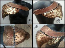 Bronze Dragon Scale Celtic Shoulder Piece by JAFantasyArt