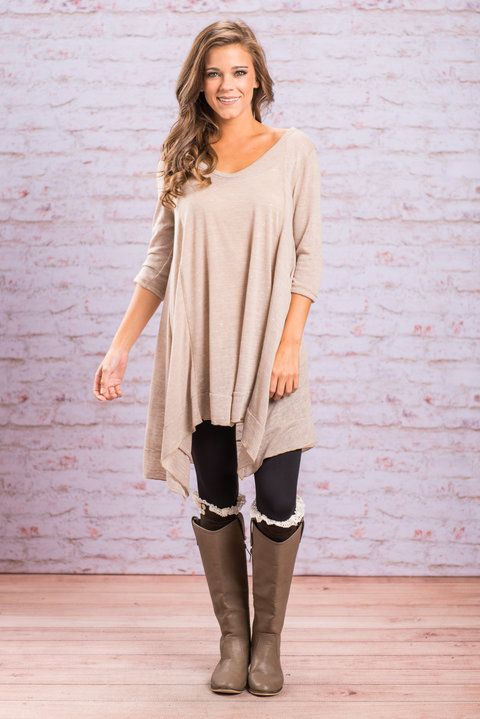 """""""Basic Long Tunic - Taupe""""This tunic is so chic because it is basic! With this tunic you can layer, mix and match, switch up your style, the options are endless!  #newarrivals #shopthemint"""