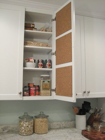 Cork tile(target) pinning board for inspirations meal ideas, recipes, shopping, grocery etc. neatly hidden on the inside of kitchen cupboard door
