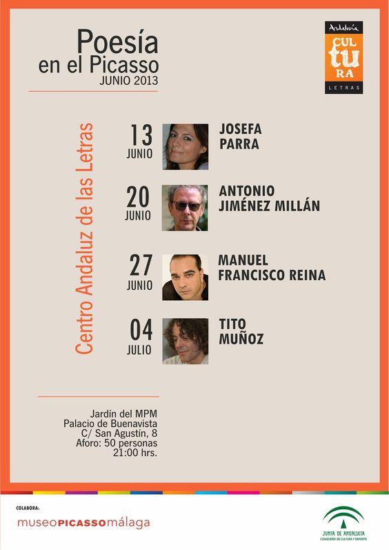Poesía en el Picasso. Ciclo de lecturas poéticas a cargo de poetas andaluces que se celebran durante el mes de junio en los jardines del Museo Picasso Málaga. Organiza @CAL_Letras y @mPICASSOm
