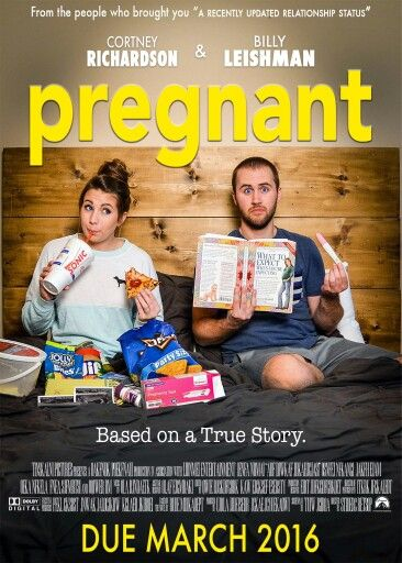 Pregnancy announcement with a movie poster: