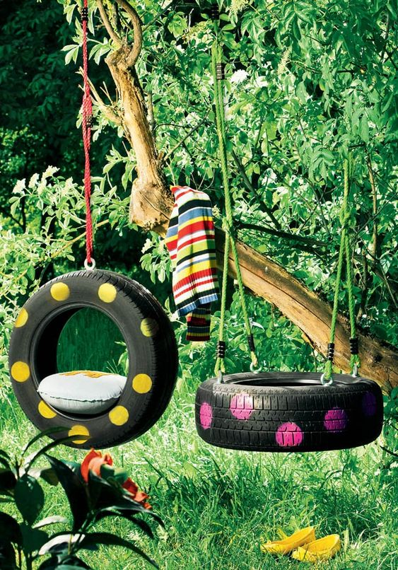 Swing Made From Car Tires
