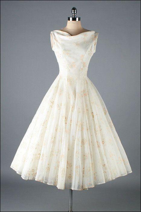 Vintage 1950s Dress . Ivory Chiffon . Flocked Wildflowers . 3200 ...