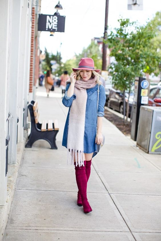 Bundled up in Fall with the Classics: Hats, Scarves and OTK boots!