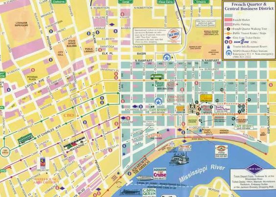 new orleans garden district map New Orleans – Tourist Attractions Map In New Orleans