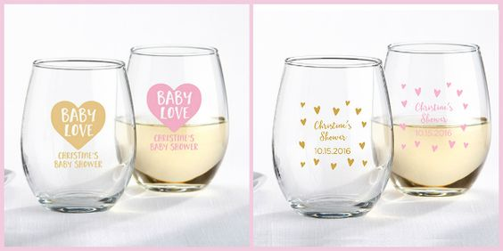 Pink and Gold Glassware - Stemless Wineglasses from HotRef.com