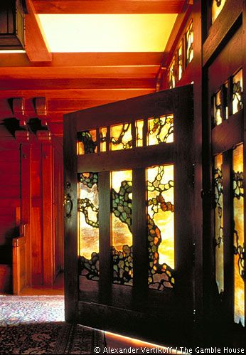 Breathtaking stained glass work. Love the arts & crafts style.  Gamble House / Greene & Greene