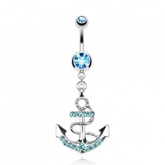 Piercing Nombril Pendentif - Ancre Cristal Aquamarine
