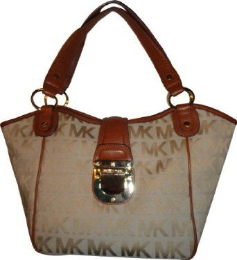 Women's Michael Kors Purse Handbag Medium Tote RTW JQD Charlton Beige/Camel/Luggage $268.00