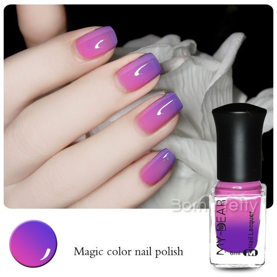 1 Pc 6ml Thermal Color Changing Nail Polish Peel Off Varnish Purple to Pink