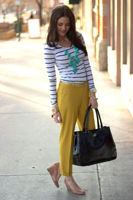 I love everything about this outfit - the mustard pants, striped tee, mint & shimmering gold accessories & the large Tory Burch bag. Just gorgeous!