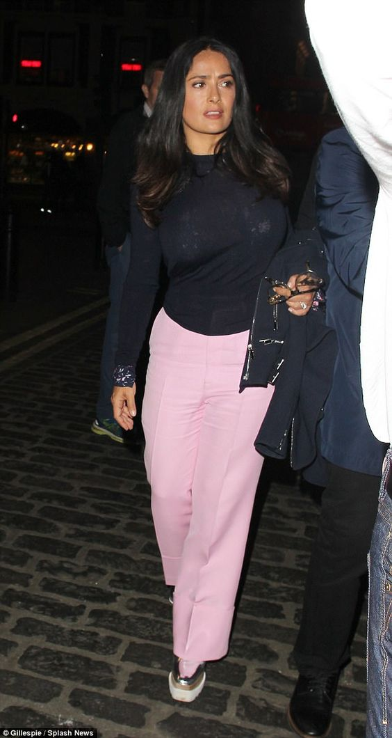 Sensational: Salma Hayek, 51, went for a casual low-key look as she left the Cat On Hot Tin Roof show at the Apollo Theatre in London on Wednesday