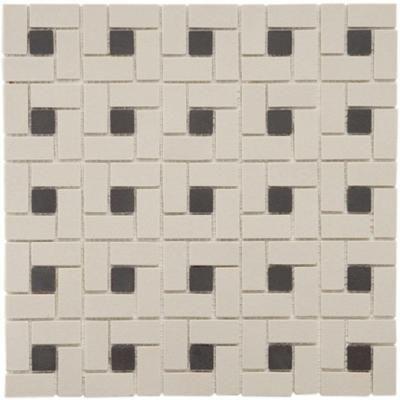 Lyric Unglazed Porcelain Spiral (Pinwheel) Pattern Mosaic Tile