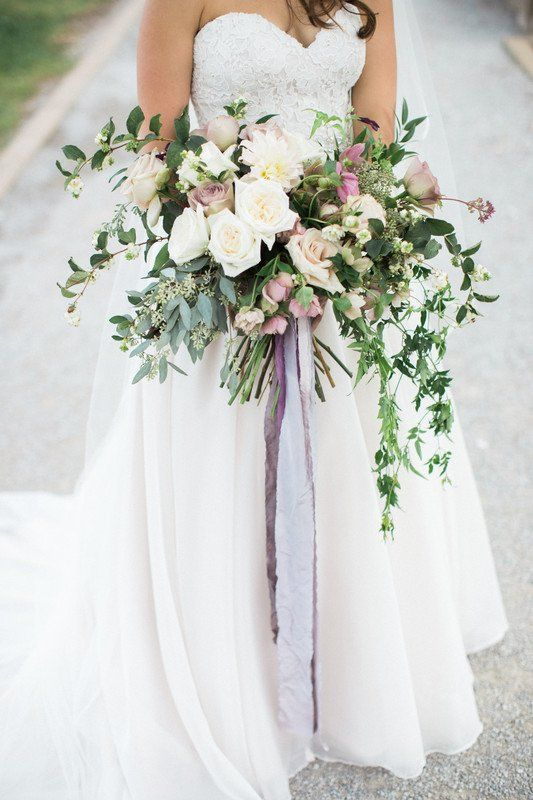 Overflowing Wedding Bouquet Idea White Flowers With Greenery And