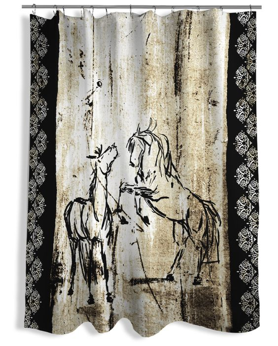rustic rearing horses shower curtain the painting pony