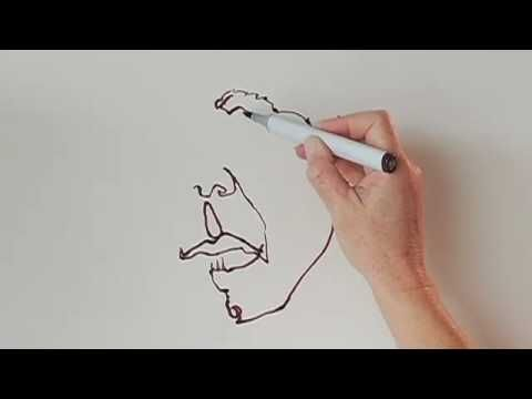 continuous line contour drawing technique. Drawing a face from a life model, I start at the nose, and draw the entire face and neck without lifting the pen. Contour drawings should be slow and careful.