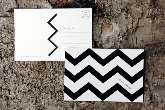 Black and white chevron postcards by Dawn Correspondence