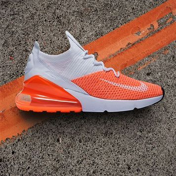 Nike Air Max 270 Flyknit Crimson Pulse Women S Shoe Hibbett Us Sneaker Boots Gym Shoes Nike Shoes