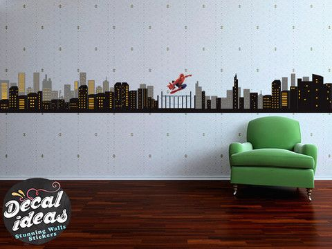 Superhero Spiderman Wall Decal , Spiderman City skyline wall decal, Gotham City…