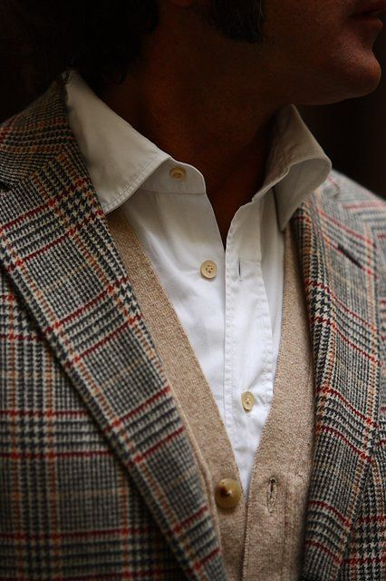 Prince of Wales check blazer with white shirt