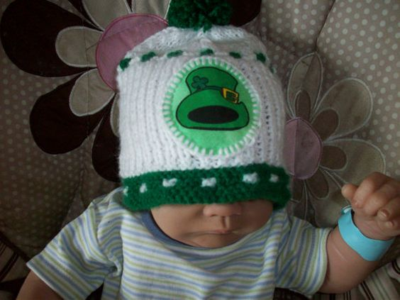 Custom Handmade Knit  Green and WhiteLEPRECHAUN Baby by magge03