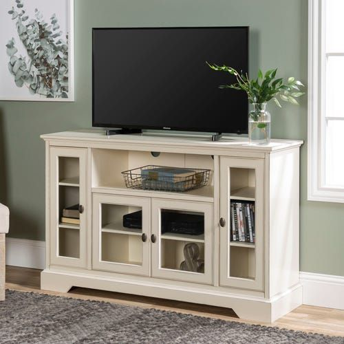 Traditional Highboy Antique White Wood Tv Stand With Images Tv Stand Wood Home Decor Styles White Tv Stands
