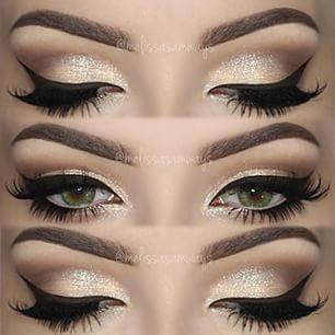 Wedding Makeup Winged Eyeliner : Sparkly eyeshadow, Winged eyeliner and Eyeliner on Pinterest